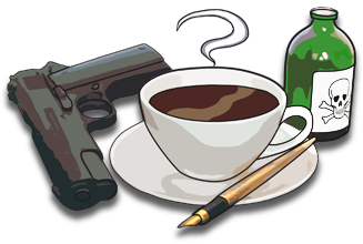 Picture of a gun, a pen and a poisoned cup of tea